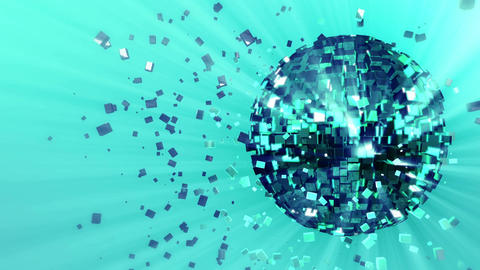 pulsating spinning glow disco ball composed of cubes green-blue-turquoise color  Animation