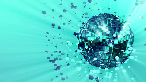 pulsating spinning glow disco ball composed of cubes… Stock Video Footage