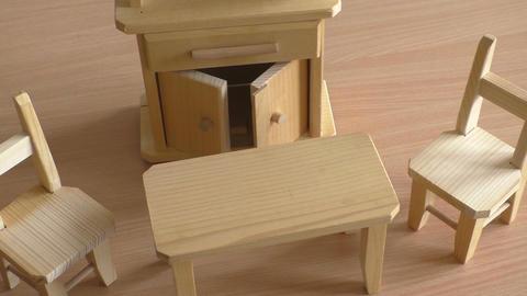 Miniature wooden toy furniture for children Footage
