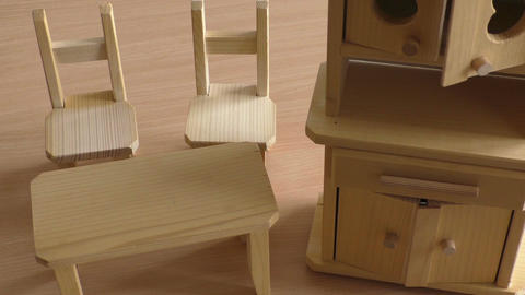Miniature wooden toy furniture for children. Wooden doll furniture: table, chair 画像