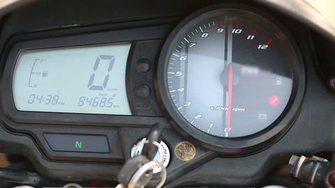 Motorcycle Speedometer and RPM Watch Footage