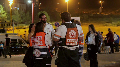 Group of paramedics talking each other during Israel 69th Independence day celeb ビデオ