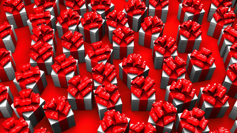 Gift Boxes On Red Background Animation