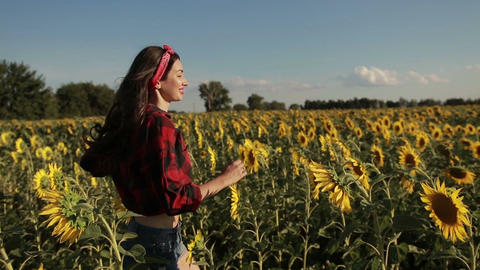 Carefree woman running through field of sunflowers Footage