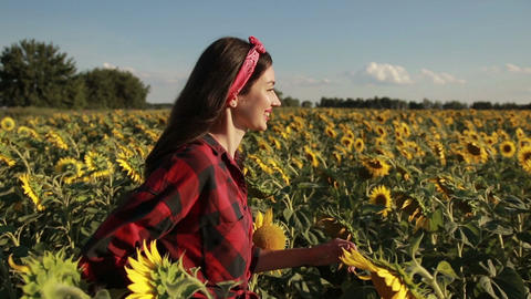 Happy summer girl laughing in sunflower field Footage