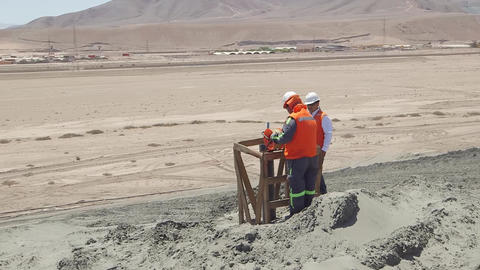 Landscape with construction workers Footage