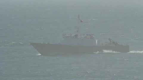 Boat in ocean mist Footage