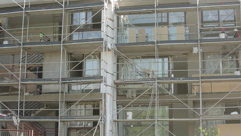 Workers on scaffolding Footage
