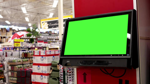Motion of people shopping and green billboard inside Canadian tire store with 4k Footage
