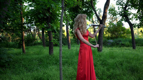 4K Woman Plays On The Violin In The Park Footage