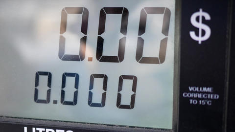 Big screen of rising gas prices on pump screen with 4k resolution Footage