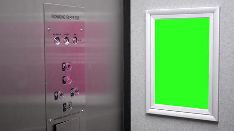 Motion of green billboard for your ad inside elevator with 4k resolution Live Action