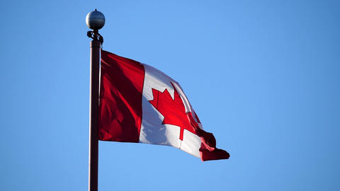 Slow motion of Canadian flag flying on flagpole in a blue sky for celebrating Ca Footage