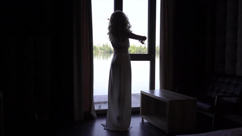 4K Silhouette Girl Violinist Playing The Violin Across From The Window Footage