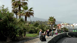 Spain The Canary Islands Tenerife Puerto de la Cruz waterfront promenade Footage