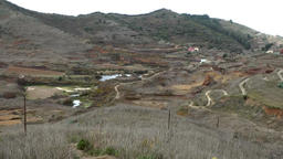 Spain The Canary Islands Tenerife lakes and winding roads in a valley Footage