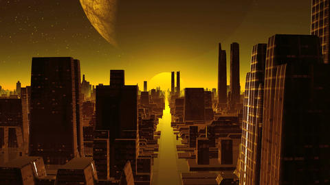 City Alien, Sunset And A Huge Moon stock footage