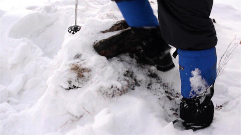 Feet of a tourist that goes through high snow to the cabin where you sleep 01 Footage
