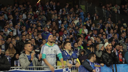 Fans watching the match of their team. People, crowd, football fans Footage