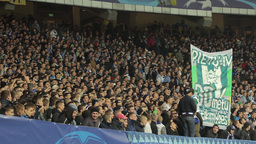 A group of football fans at a football match. People, crowd, football fans Footage