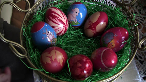 Girl arranges in a basket with grass, red eggs. Eggs are the reasons the Easter  Footage