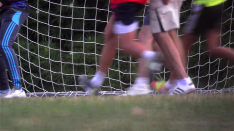 Sequence during a friendly soccer match gate guests filmed from the legs 4 timel Footage