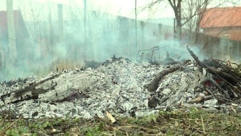 Smoke dry twigs burning fire burning Coals of wood burned 25 Footage