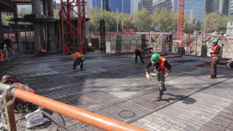 Workers with steel Footage