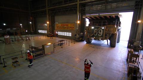 Mining truck in garage Footage