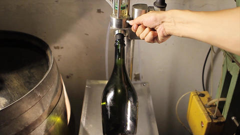 Champagne bottle being filled Footage
