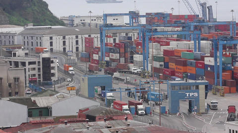 Container cranes at seaport Footage