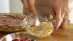 Mashing bananas for pancake cake Footage