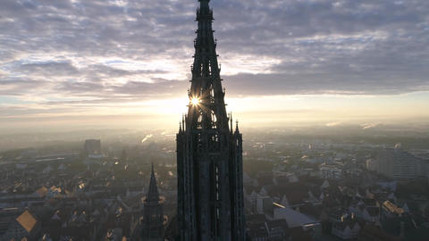 Ulm Minster Sunrise with Drone in Slow Motion Footage