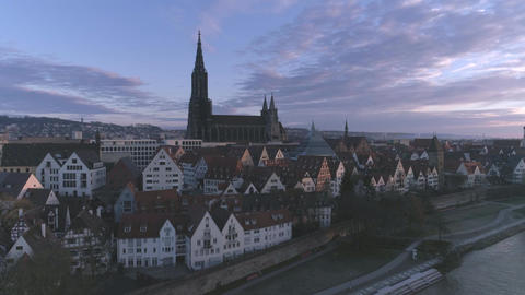 Ulm Minster Sunrise with Drone Filmmaterial
