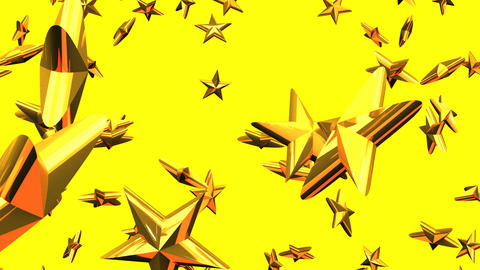 Gold Stars On Yellow Background Animation