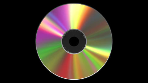 Iridescent CD DVD Disk. 3D Animation. Loop. Alpha Matte. 4k Image
