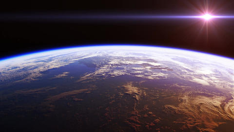 Beautiful View Of Planet Earth From Space. Realistic 3d Animation. Seamless Loop Animation