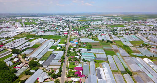 Aerial Drone View Of Agricultural Vegetables Fields Plantation And Greenhouses Footage