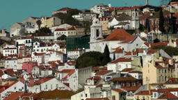 Europe Portugal Lisbon city district on hillside to Tejo river Footage