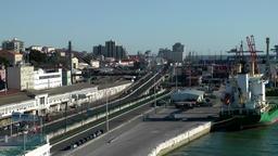 Europe Portugal Lisbon city industrial docks of Tejo river Footage