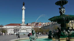 Europe Portugal Lisbon cityscape with theater at Square Pedro IV Footage