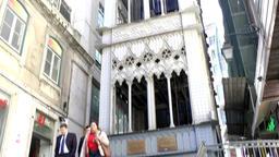 Europe Portugal Lisbon elevator to upper town Elevador de Santa Justa Footage