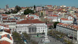 Europe Portugal Lisbon national theater and Rossio Square seen from upper town Footage