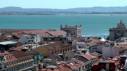 Europe Portugal Lisbon city view to Arco da Rua Augusta and Tejo river Footage