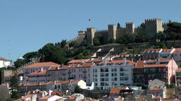 Europe Portugal Lisbon view to castle S. Jorge and residential hillside Footage
