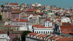 Europe Portugal Lisbon city view from Santa Justa to Convento da Encarnação Footage