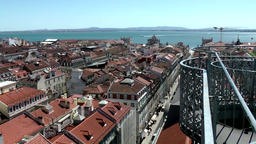 Europe Portugal Lisbon city the fence of elevator of Santa Justa Footage