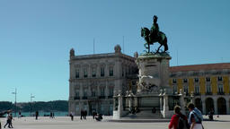 Europe Portugal Lisbon equestrian statue of José I. on Comércio Square Footage