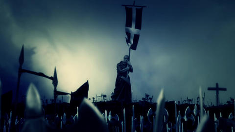 Christian Monk Holding Crusader Flag while Army March to Battle Footage