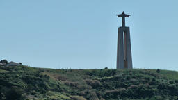 Europe Portugal Lisbon ride on Tejo river and pass the christ statue Footage